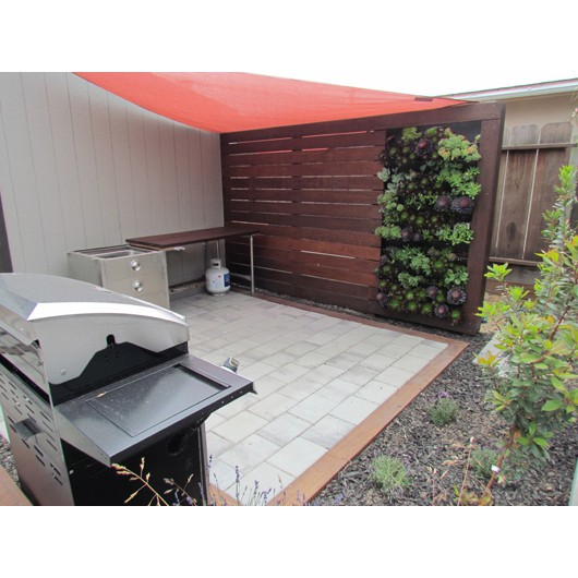 Barbecue area with living succulent wall